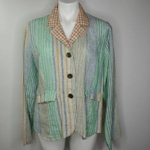 Flax linen striped blazer jacket with 3 buttons